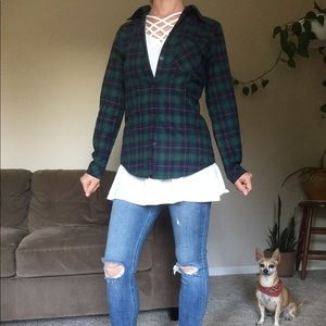 Tops - Green navy plaid serpa lined flannel